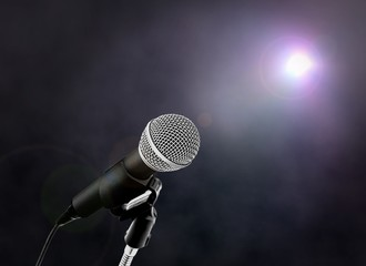 Microphone on Stage with Spotlight