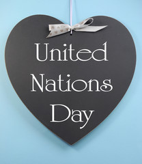 United Nations Day greeting on heart shape blackboard