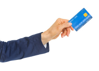 Closeup on hand of business woman giving credit card
