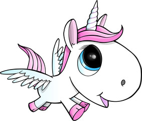 Cute Unicorn Pegasus Vector Illustration Art