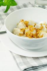 Meat Dumplings - russian pelmeni with fried onion