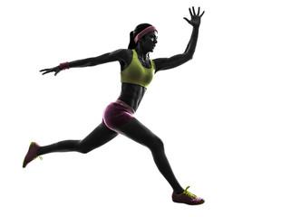 Wall Mural - woman runner running jumping  silhouette
