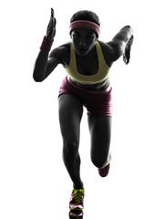 Wall Mural - woman runner running silhouette