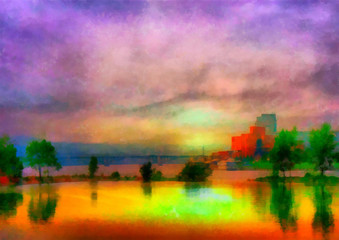 Digital structure of painting. Beautiful river