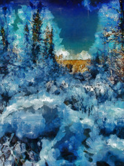 Digital structure of painting. Winter forest