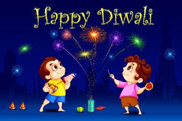 vector illustration of kids enjoying Diwali