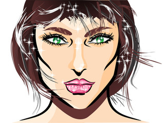 Face illustration of sexy girl