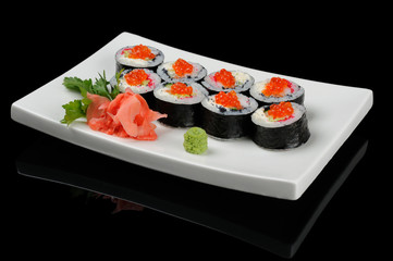 Eight rolls with red caviar