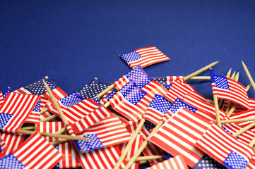 USA Stars & Stripes toothpick flags with copy space.