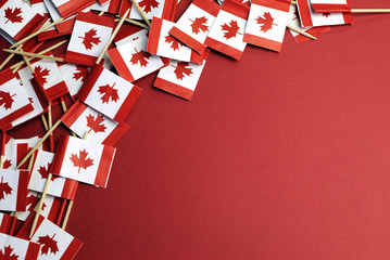 Canada red and white Maple Leaf toothpick flags with copyspace