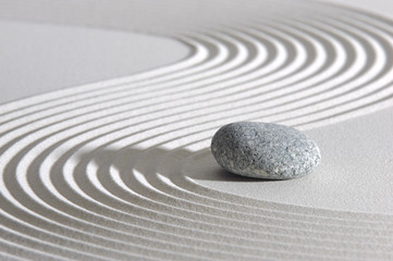 Poster Stones in Sand Japan ZEN garden in sand with stone