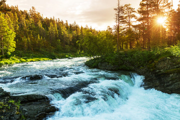 Photo sur Toile Riviere River in Norway