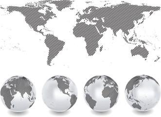 Weltkarte mit Kugel