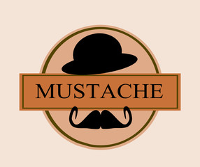 mustache template banner with derby hat