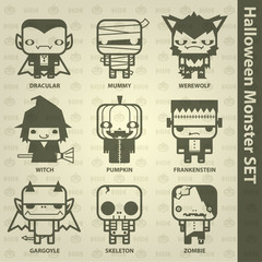 Halloween monster set