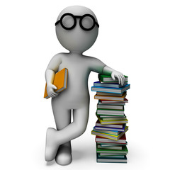 Student And Books Shows Education