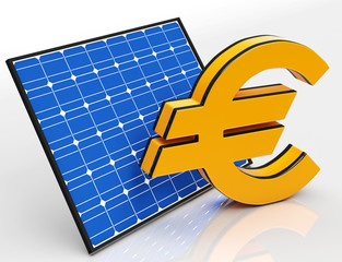 Solar Panel And Euro Shows Saving Money