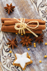Spices, ginger and anise stars with cinnamon sticks