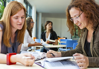 Confident female students learning