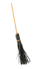 Old style broom isolated over white background, besom for witch