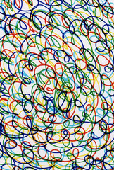 Abstract colour curves scribbles on white paper.