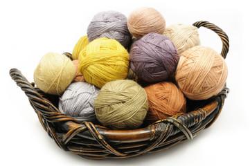 Wool yarn balls in the basket