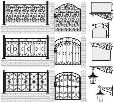 Set of iron wrought fences, gates, signboards, lanterns.Vector