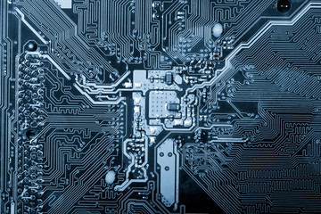 Electronic circuit board close up. X-ray effect.
