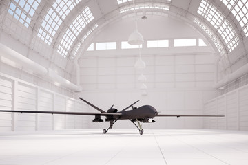 Comabt drone in white hangar