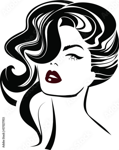 Вектор: woman hair and red lips icon set