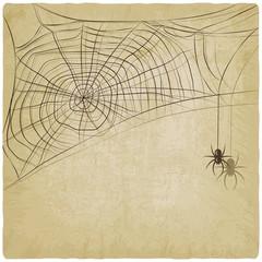 Vintage background with spider web - vector illustration