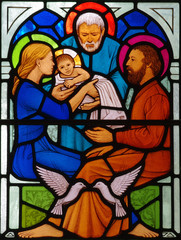 Fototapete - Jesus, St. Mary and Joseph in stained glass