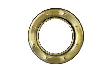 A brass ship's porthole