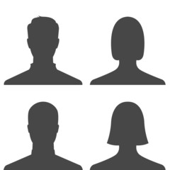 Set of people profile pictures on white background