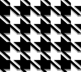 3D Houndstooth Weave, Black and White Vector Seamless Pattern.