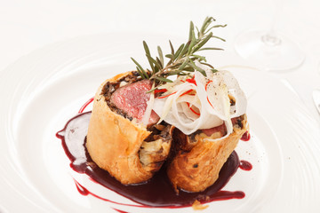 Fillet Wellington with fresh herbs