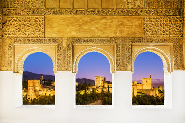 Fototapete - The Alhambra from the windows, Granada (Andalusia), Spain.