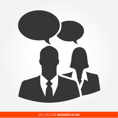 Businesspeople chatting with bubble signs - vector icon