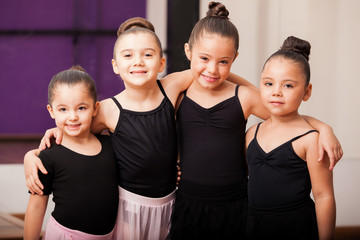 Happy ballet students having fun
