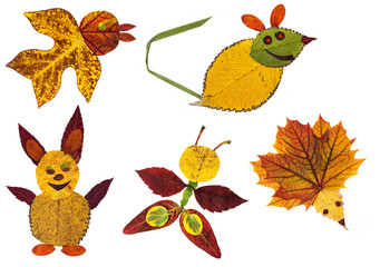 animals made from the autumn leaves - collection