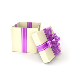 open gift box on white