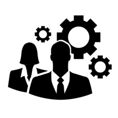 Business people icon with set of cogs
