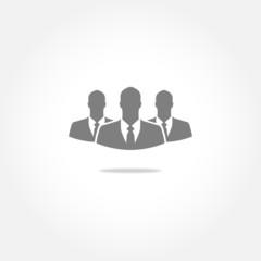 Three businessman vector icon