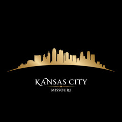 Wall Mural - Kansas city Missouri skyline silhouette black background