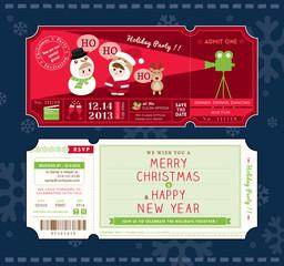 Vector Christmas Party Ticket Card Design Template