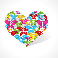 Colorful butterfly make a heart stock vector