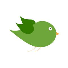 green bird color art vector illustration