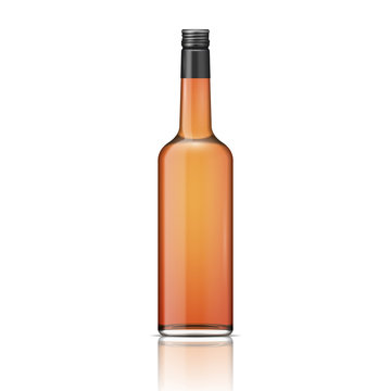 Glass whiskey bottle with screw cap.