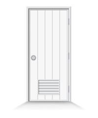Bathroom door on isolate background