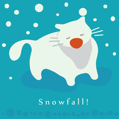 Cat and snowfall. Winter holidays card